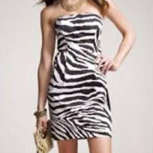 Express Strapless Zebra Print Dress Black White 4
